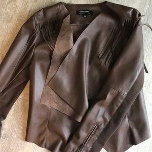 NEW Fringe Accent Faux Leather Jacket